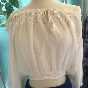 Hollister off shoulder top with elastic waist